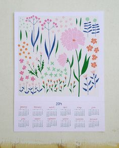ON SALE - 2014 Floral Wall Calendar / Frame-able Art Print