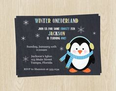 Chalkboard Birthday Party Invitations, Winter Penguin Party Invites, Boys in Aqua and Yellow, Wonderland Theme, Set of 10 with Envelopes by TheInviteLadyShop on Etsy