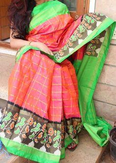 Green with Orange Ikkat Silk Saree