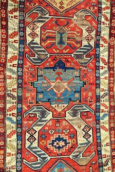Early South Caucasian long rug (detail) C. 1840-60.