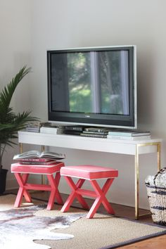 DIY Gold Leaf Ikea Console Table | The Everygirl