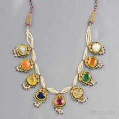 High-karat Gold, Gemstone, and Rose-cut Diamond Necklace | S