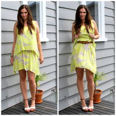 Use a belt to bring the hem height up on a summer dress. More info on the blog