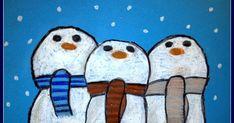 Door Jill, groep 6 Benodigdheden: blauw papier op A4 formaat oliepastelkrijtjes Teken op blauw papier drie sneeuwmannen die dicht...