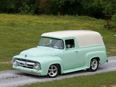 "1956 Ford Panel Truck. ""I could cruise 66 in this. "" ...dl"