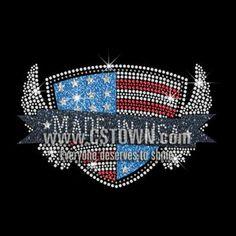 American Medal Made in USA Iron on Rhinestone Transfer Motif