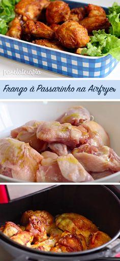 Receita deliciosa de frango à passarinho feito na airfryer, mas pode ser feita no forno. O segredinho é o tempero!