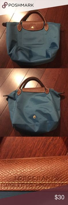 Longchamp mini short handle teal Le Pliage handbag No stains. There is a little wear and tear on each of the four corners. Longchamp Bags Totes