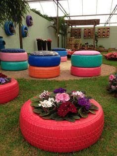 garden pots and seats from use tires