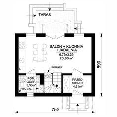 Projekt domu jednorodzinnego Mak (DN49) | wybieramprojekt.pl Floor Plans, Floor Plan Drawing, House Floor Plans