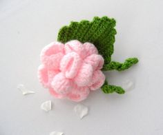 Hand Crochet Corsage Brooch Pink Rose Flower by CraftsbySigita on Etsy