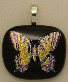 Amazing Butterfly dichroic fused glass pendant