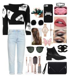 """""""."""" by teodorawam ❤ liked on Polyvore featuring Moschino, M.i.h Jeans, Chanel, Gucci, Luna Skye, Michael Kors, Spitfire and DesignB London"""