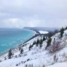 This view of Lake Michigan's startling blue color makes the cold days worth it. zinkco22 braved the #PureMichigan winter to capture this shot.