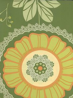 A playful lime green and orange floral wallpaper designed by Amy Butler. Get it now from AmericanBlinds.com