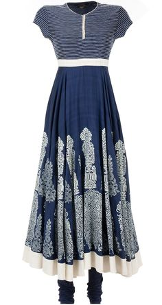 Indigo block printed anarkali by BIBA by ROHIT BAL. Shop now at perniaspopupshop.com