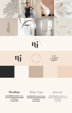 NJ Creative Studio Refined brand board for NJ Creative Studio Brand Identity Design, Corporate Design, Branding Design, Brand Style Guide, Brand Board, Editorial Layout, Grafik Design, Creative Studio, Fashion Branding