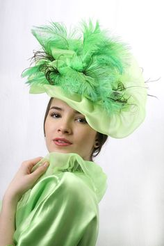 Spring green Kentucky derby Fascinator royal by IrinaSardarevaHats