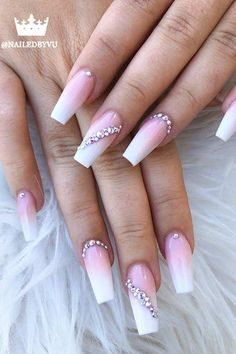 25 Nail Art Ideas and Trends to Try in 2020 | Page 2 of 2 | StayGlam Cute Acrylic Nail Designs, Nail Art Designs, New Nail Art Design, Rhinestone Nails, Bling Nails, Nail With Rhinestones, Gem Nails, Diamond Nails, Nail Gems
