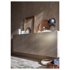 IKEA BESTA White, Riksviken Light Bronze Effect Wall-mounted cabinet combination Ikea Inspiration, Soft Closing Hinges, Ikea Living Room, Knobs And Handles, Office Storage, Interior Accessories, Apartment Design, Adjustable Shelving, Home Furniture