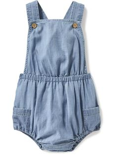 Chambray Bubble Overalls for Baby