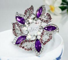 Zinklegierung Broschen, mit Kristall, Blume, silberfarben plattiert, mit Strass, frei von Nickel, Blei & Kadmium, 58x58mm