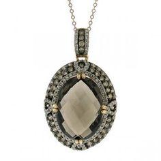 1.70ct White & Champagne Diamond & 11.85ct Smokey Topaz 14k Rose Gold Pendant Necklace - Allurez.com