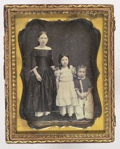 Quarter Plate Daguerreotype with Three Siblings Proportionally Arranged, - Cowan's Auctions