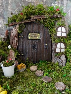 Large Brown Fairy Garden decor Door Set with Accessories inches Wide x 9 inches long, Hand cast and painted. Blue Fairy, Fairy Land, Fairy Door Accessories, Fairy Doors On Trees, Fairy Furniture, Door Sets, Flower Fairies, Gnome House, Fairy Houses