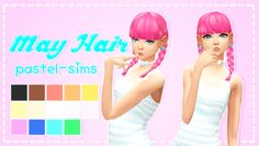 "pastel-sims: "" May Hair! ♥ The base-game braids with added bangs because…why not?!♥ • Disabled for random. • Recoloring/Retexturing allowed (Please give me credit and tag me!) • Female teen - elder •..."