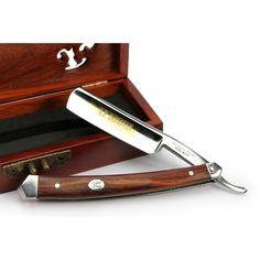 Edles Rasiermesser aus feinstem japanischen Stahl, eingefasst in Mahagoni - Rockwellhärte von 64