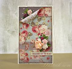 Gentle rustic greeting card with floral background. Decorated with mulberry paper flowers, pearls and tiny glossy drops.