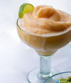 Conco de Mayo // Banana Pina Guava Daiquiri serves 2 1 banana 1/2 cup ice 1 cup frozen pineapple 1 cup guava juice + 2 tsp agave syrup OR 1 cup lime all-natural margarita mix 1 lime, squeezed 3 shots tequila salt rimmed glasses + lime garnish