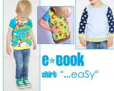 """Das Shirt ist nicht nur ganz """"…eaSy"""" in wenigen Schritten genäht, sondern macht aus deinem Kind auch ganz """"…eaSy"""" einen süssen Hingucker - Mit kurzen oder langen Ärmeln - im Mustermix - ganz wie es Dir gefällt -  ...nähe dir dein Unikat!  Das eBOOK enthält alle Schnittvorlagen für die Doppelgrössen 50/56 bis 134/140 und eine genaue """"Schritt-für-Schritt-Näh-Anleitung"""" - mit Fotos zu jedem Arbeitsschritt sind hier auch Nähanfängerinnen bestens mit beraten!  !!!!!!! Zum Verkauf steht nur ..."""