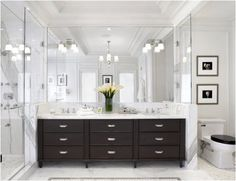 BathroomIdeas-Dark Wood Vanity All Glass Bath