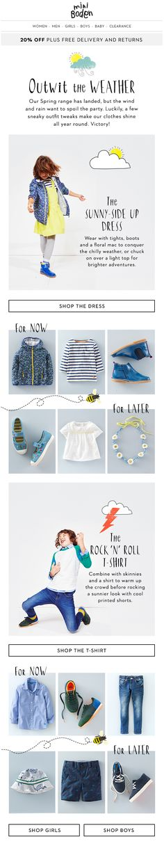 Mini Boden: spring weather/related email content