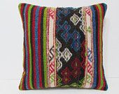 20x20 floor ethnic bohemian sofa decorative decor pillow case boho pillow cushion Turkish throw outdoor accent kilim pillow cover rug 24171