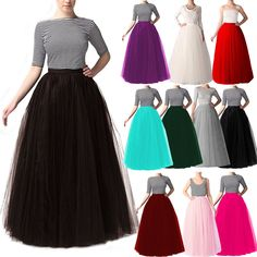 0c122a8048 Women Long Tulle Maxi Skirts A-line 5 Layers Wedding Prom Party Tutu  Pettiskirt #