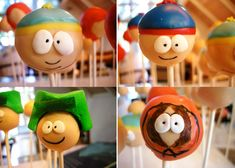 """""""I love your site, and love making cake pops! My husband recently challenged me to make cake pops of the characters in South Park- Kenny, Kyle, Stan, and Cartman. I haven't seen these type o South Park, Cupcakes, Cupcake Cakes, Cake Show, Cake Pops How To Make, Bakerella, Types Of Cakes, Little Cakes, Star Wars"""