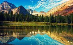 壁紙をダウンロードする 夏, スカイ, 湖, ツリー, 山々, 木