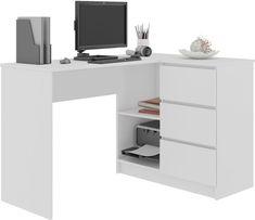 MEBLE BIURKO NAROŻNE KOMPUTER CLP 3SZ 124cm BIAŁE - 279 zł - Allegro.pl - Raty 0%, Darmowa dostawa ze Smart! - KOPRKI - Stan: nowy - ID oferty: 6318349947 Angles, My Room, Office Desk, Furniture, Home Decor, Products, Teen Room Organization, Writing Desk, Home Office