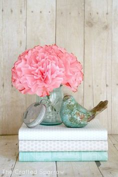 The Crafted Sparrow: Coffee Filter Peonies Flowers- good tutorial -will have to try dying them