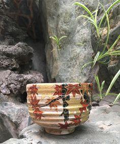 Maple leaves Miyako Nishiki matcha bowl from Souhoun kiln #kiyomizuyaki #kyoyaki #matchabowl #chawan #pottery #japanesepottery #ceramics #japaneseceramics #matcha #teatime #instatea