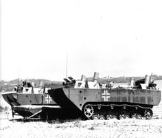 Two prototypes of the Panzerfaehre Landwasserschlepper II amphibious carriers, circa mid-1942. These were the intended replacements of the earlier Landwasserschlepper, with light armor and running gear from the Panzer IV, but never proceeded into production.