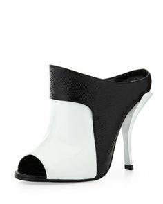 Patent & Lizard-Print Leather Slide, White/Black by Fendi at Neiman Marcus. #mavatarwish