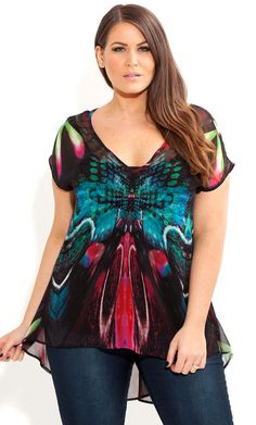 MIRROR BUTTERFLY TOP - Women's plus size #UNIQUE_WOMENS_FASHION