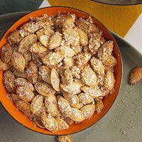 Rachel Ray Roasted Pumpkin Seeds  Extra tips on different ideas  http://www.rachaelraymag.com/recipe/oven-roasted-pumpkin-seeds/