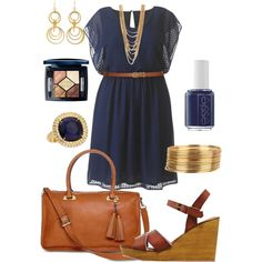 Spring Navy Dress - Plus Size, created by kerimcd on Polyvore