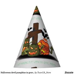 Halloween devil pumpkins in graveyard