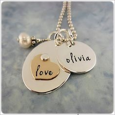 Personalized Necklace for Mom  Silver Gold by StampedUnderTheMoon, $58.00